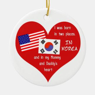 Born in Two Places - Korean adoption Keepsake Round Ceramic Decoration
