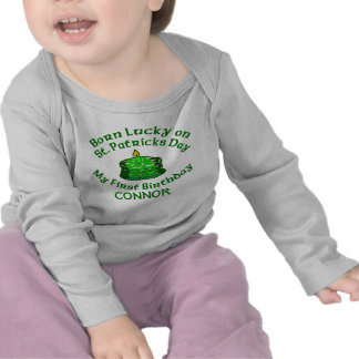 BORN LUCKY ON ST PATS DAY FIRST BIRTHDAY TSHIRTS