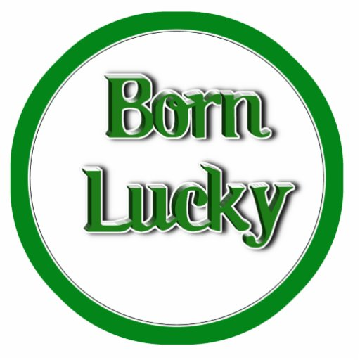 Born Lucky Text Image Cut Outs
