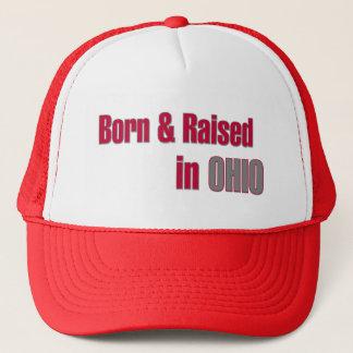 Born & Raised in Ohio (Red & Grey Design) Hat