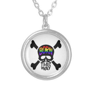 Born This Way Skull & Crossbones Round Pendant Necklace