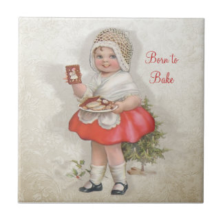 Born To Bake Girl Small Square Tile