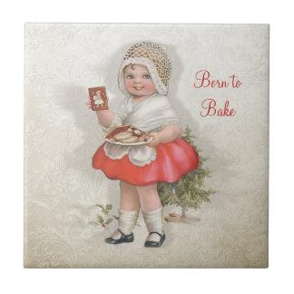 Born To Bake Girl Small Square Tile