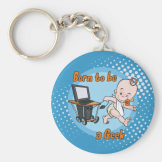 Born to be a Geek Basic Round Button Key Ring