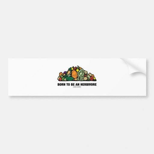 Born To Be An Herbivore (Pile Of Vegetables) Bumper Stickers