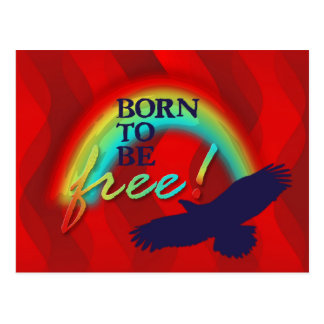 Born To Be FREE   red waves Postcard