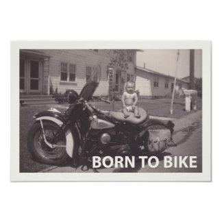 born to bike 9 cm x 13 cm invitation card
