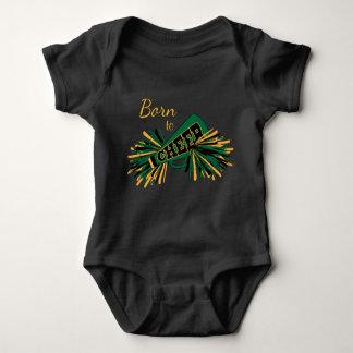 Born to Cheer - Dark Green and Gold Baby Bodysuit