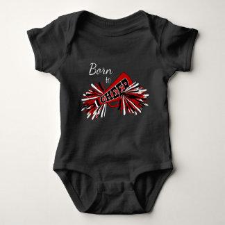 Born to Cheer - Dark Red, White and Black Baby Bodysuit