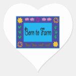 Born To Farm Heart Stickers