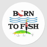 BORN TO FISH CLASSIC ROUND STICKER