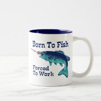 Born To Fish Forced To Work Two-Tone Coffee Mug