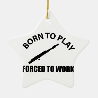 born to flute ceramic star decoration