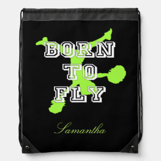 Born to Fly cheerleader Drawstring Backpacks