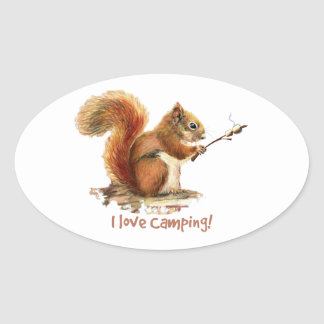 BORN TO GO CAMPING Fun Squirrel Cute Animal Quote Oval Sticker