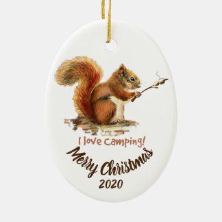 BORN TO GO CAMPING Fun Squirrel Love Camping Quote Christmas Ornament
