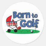 Born To Golf Round Stickers