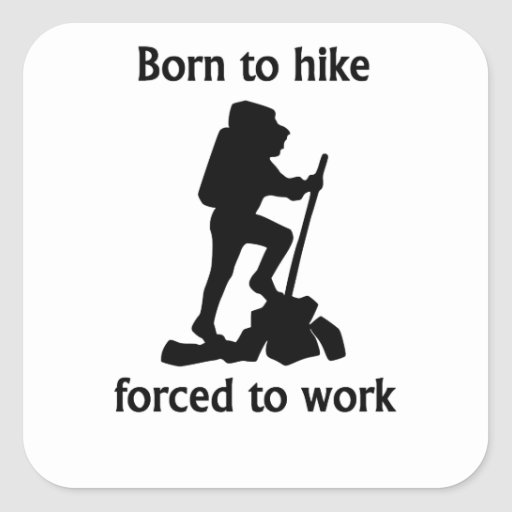 Born To Hike Forced To Work Square Sticker