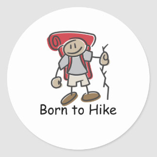 Born to Hike gifts. Classic Round Sticker