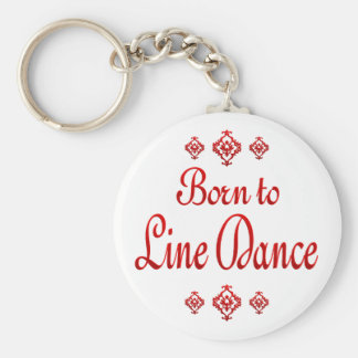 BORN TO LINE DANCE BASIC ROUND BUTTON KEY RING
