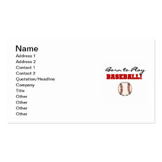 Born to Play Baseball T-shirts and Gifts Business Card Templates
