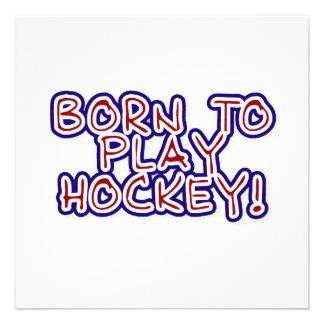 Born to Play Hockey T-shirts and Gifts Custom Invitation