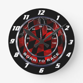 Born to race speedometer round clock