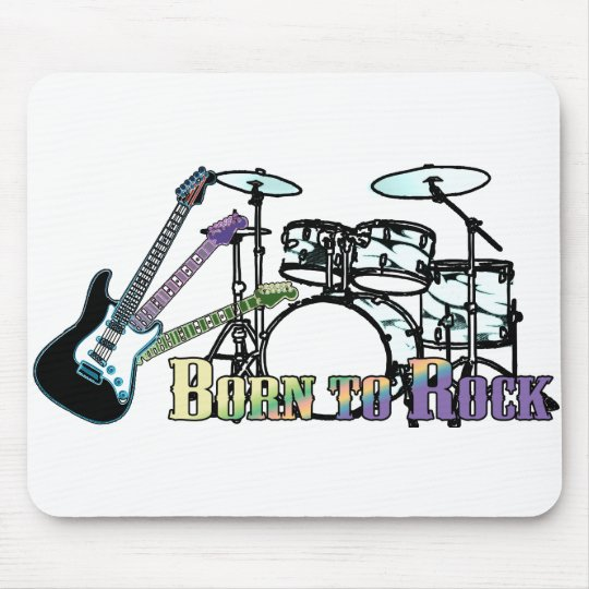 Born to Rock Drums and Guitar Mouse Mat
