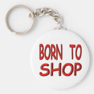 Born To Shop Basic Round Button Key Ring