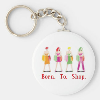 Born To Shop Basic Round Button Key Ring