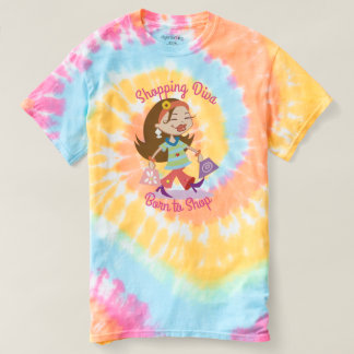 Born to Shop Funky Shopping Diva Pastel Tie Dye T-Shirt