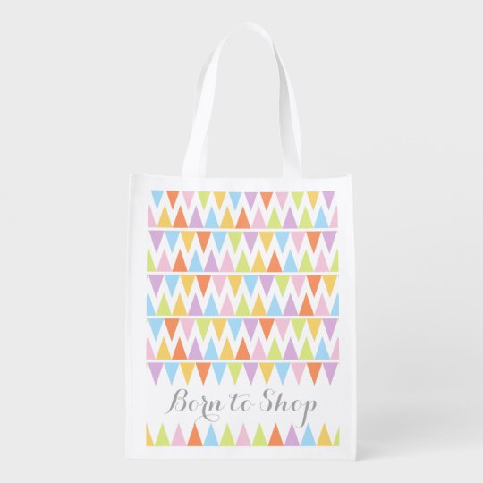 Born to shop patterned colourful bunting bag