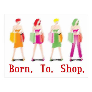 Born To Shop Postcard