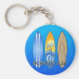 Born To Surf Basic Round Button Key Ring