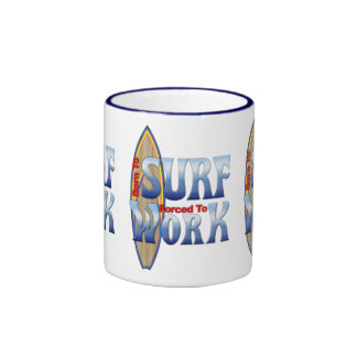 Born To Surf Forced To Work Ringer Mug