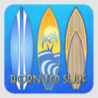 Born To Surf Square Sticker