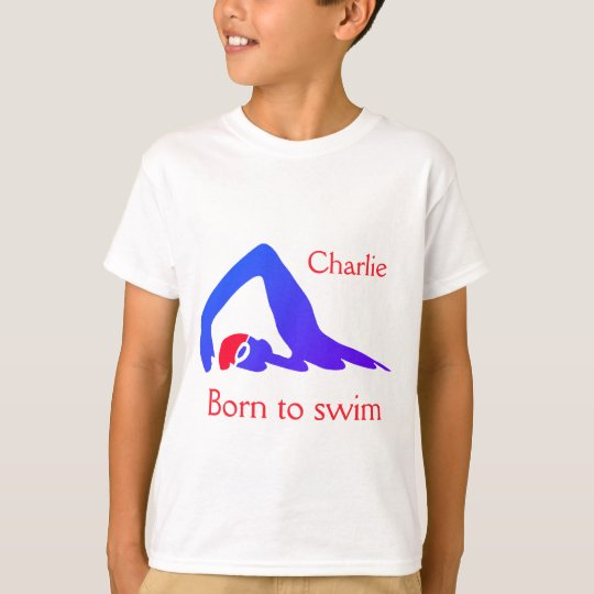 Born to swim, boy's, blue, with your name