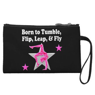 BORN TO TUMBLE, LEAP AND FLY GYMNAST WRISTLET CLUTCHES