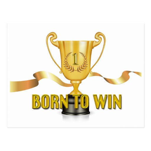 Born To Win Trophy Postcard