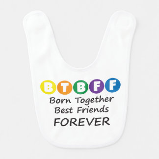 Born Together BFF White Bib for Twins, Triplets