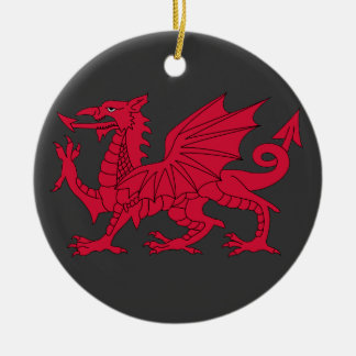 Born Welsh Poem with Dragon Christmas Ornament