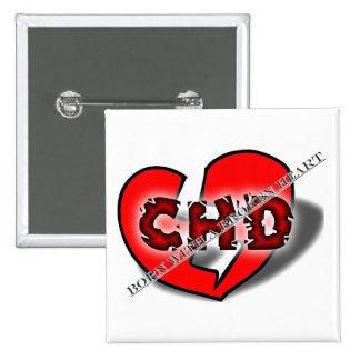 Born With A Broken Heart 15 Cm Square Badge