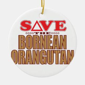 Bornean Orangutan Save Round Ceramic Decoration