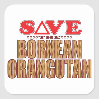 Bornean Orangutan Save Square Sticker