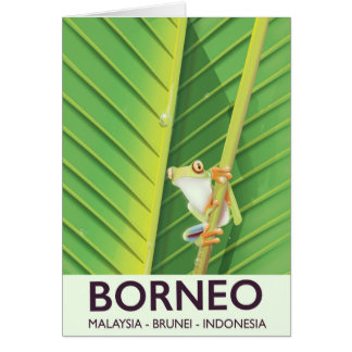 Borneo Poison frog travel poster Card