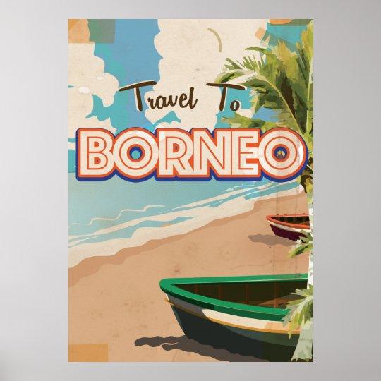 Borneo vintage travel poster art.