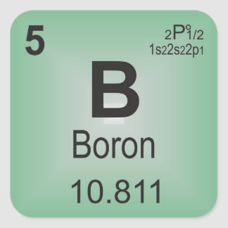 Boron Individual Element of the Periodic Table Square Sticker