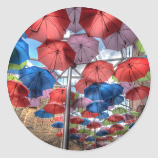 Borough Market umbrella art, London Classic Round Sticker