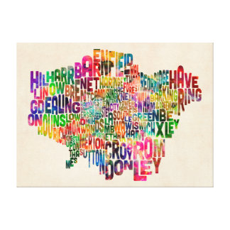 Boroughs of London Typography Text Map Stretched Canvas Print