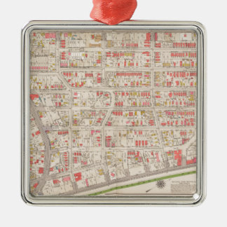 Borought of the Bronx map Silver-Colored Square Decoration